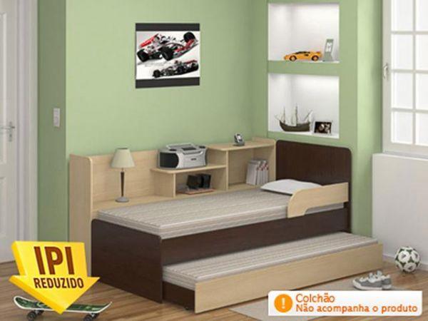 Bicama Solteiro com Prateleiras  Multimóveis 0740  Magazine Luiz  O Lojão